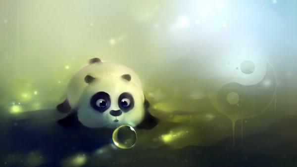 Маленькая панда рисованные заставки на рабочий стол hd