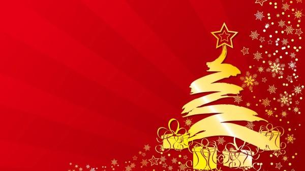 Новогодняя елка на красном фоне заставки на рабочий стол