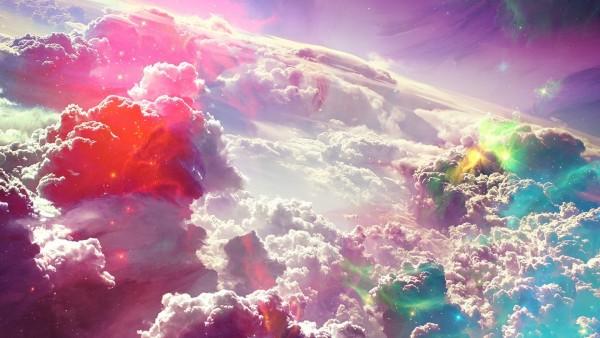 Красочные облака фэнтези заставки широкоформатные скачать
