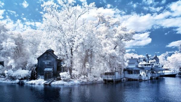 Зимняя река дом на берегу картинки для рабочего стола скачать