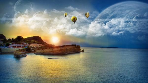 Закат на спокойном море