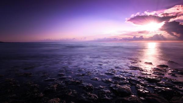 Пурпурный морской пейзаж картинки для рабочего стола скачать
