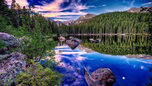 HD обои Лесное озеро в горах
