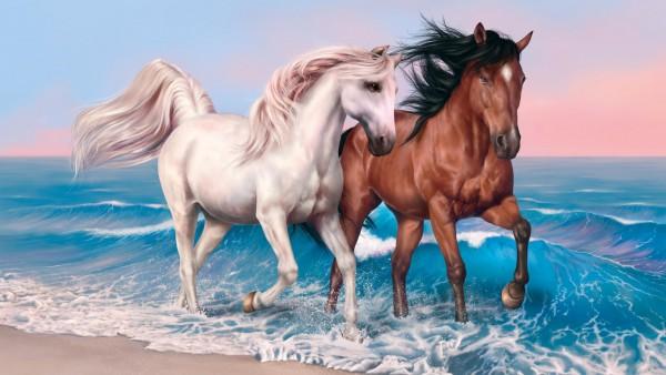 HD обои рисованные кони животные на побережье моря