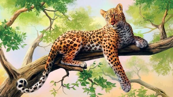 HD обои леопард рисованный