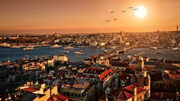HD обои Закат в величном Стамбуле
