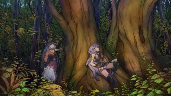 HD обои аниме девушки в лесу