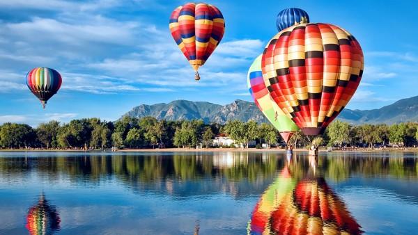 Воздушный шар, Коларадо, озеро, лес, HD обои, скачать