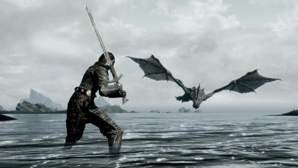 Бой с драконом широкоформатные HD обои скачать на рабочий стол