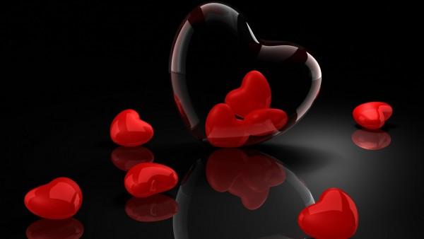Красные сердечки, алые сердца, 3D заставки, скачать, любовь, романтика