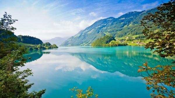 Летние горы, природа, озеро, река, трава, фоны, заставки