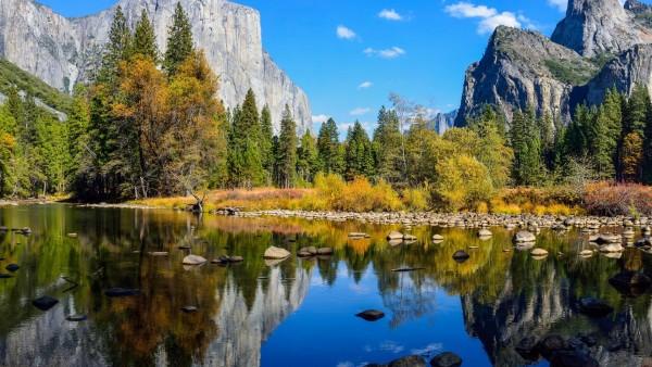 Йосемитский национальный парк, озеро, скалы, горы, осень, природа, картинки