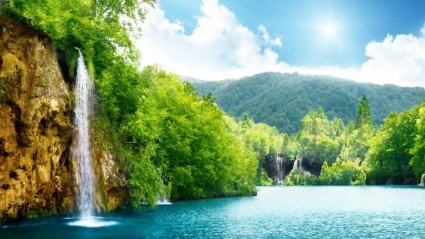 Природа, водопад, летнее озеро, деревья, фоны, заставки
