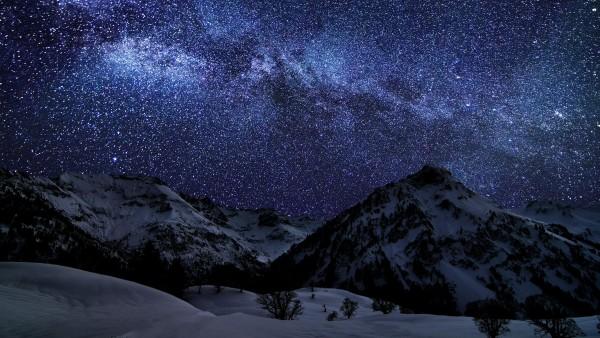 Зимнее небо, звездная ночь, природа, фоны, заставки