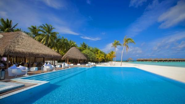 Мальдивы, пляж, бунгало, море, фоны, заставки