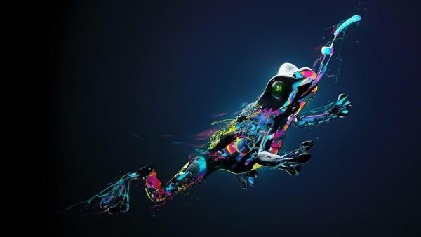 Разноцветная фэнтези лягушка hd обои бесплатно скачать