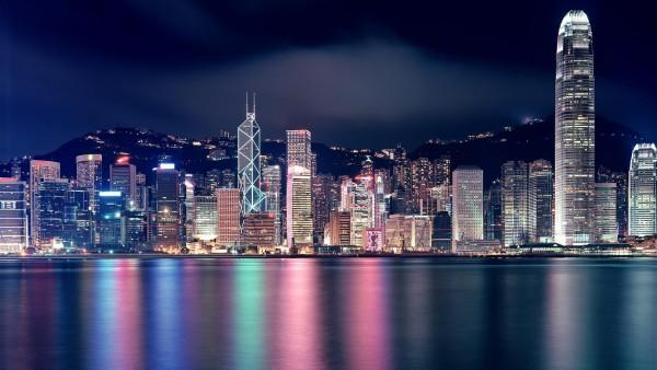 Гонконг ночной город набережная обои скачать бесплатно