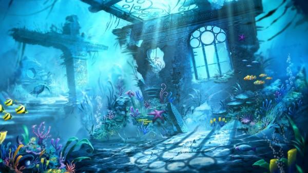 Подводный мир, фэнтези природа, рыбки, море, затонувший город, картинки