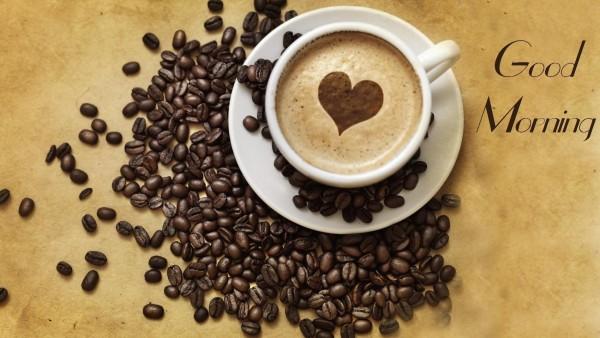 Доброе утро с чашечкой кофе и пенкой в виде сердца обои