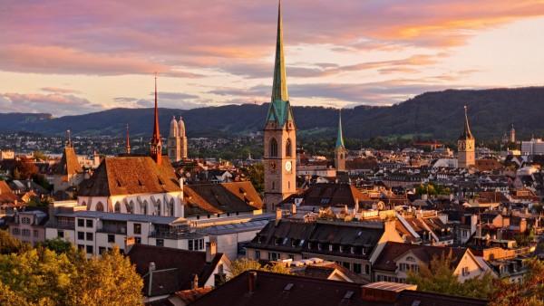 Цюрих, Швейцария, крыши, здания, небо, фоны, заставки