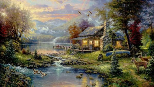 Томас Кинкейд, рай, пейзаж, рисунок, река, дом, обои, картинки