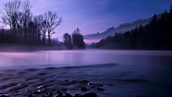 Спокойный пейзаж, ночь, река, лес, картинки, фоны, заставки