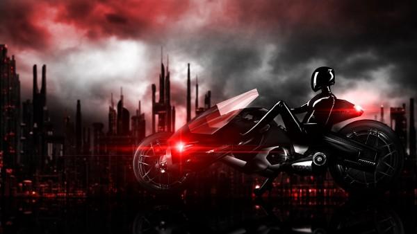 Широкоформатные обои с девушкой на мотоцикле