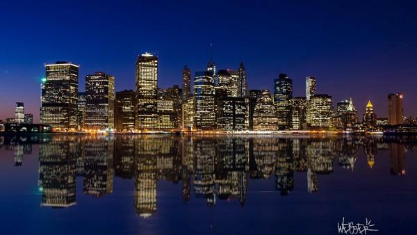 Мегаполис, ночной город, небоскребы, огни, заставки, широкоформатные, Манхэттен