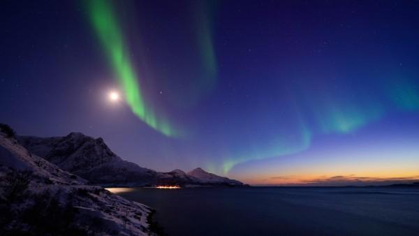 Норвегия, Северное сияние, ночь, горные картинки, пейзажи, обои HD