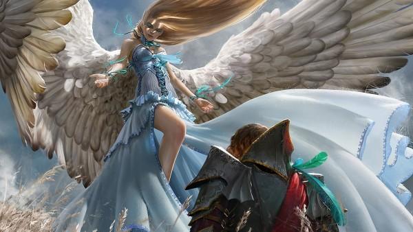 Прекрасный рисунок девушки-ангела и воина