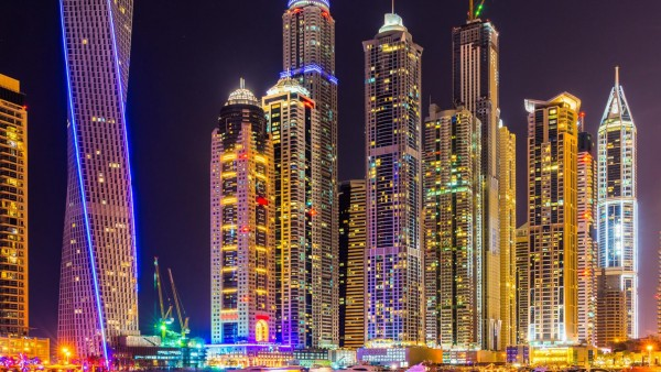 Дубай, город, небоскребы, здания, ночь, огни, красочный, яркий, городской пейзаж HD обои