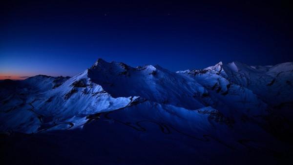 Снежные пики, горы, ночь, обои рабочего стола