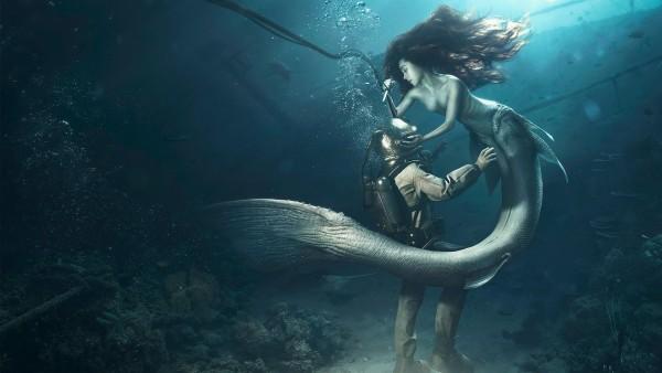 Русалка, океан, дайвер, фэнтези, любовь, обои, картинки