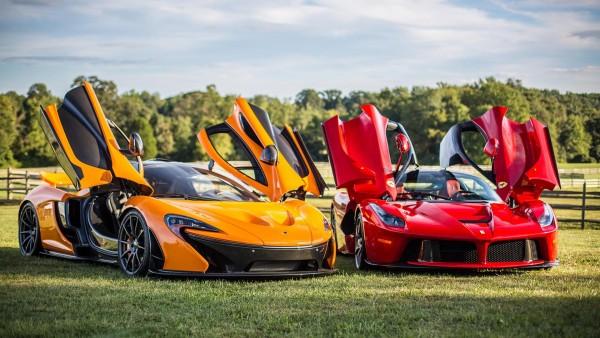 Ferrari LaFerrari vs. McLaren P1 крутые балиды суперкары обои HD