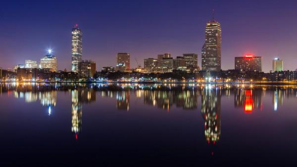 Бостонский горизонт город ночью широкоформатные заставки HD