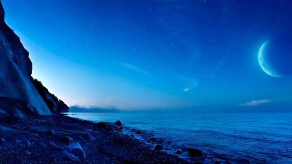 Лунный океан, пейзаж, Дания, океан, картинки, заставки