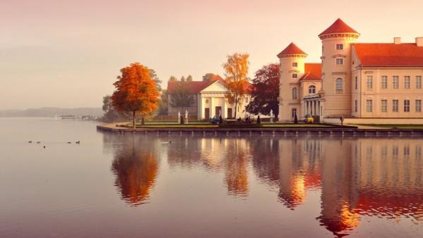 Германия, город на воде, замок, вода, красивые пейзажи, фоны, заставки