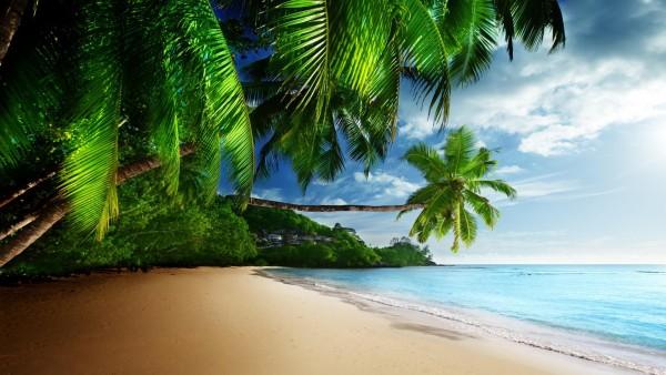 Тропический рай, солнце, песок, берег, океан, голубое небо, обои для рабочего стола