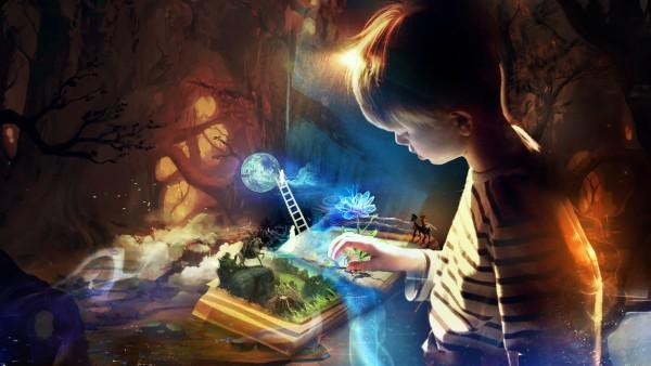 Книга воображений, фэнтези, ребенок, сказка, картинки, заставки