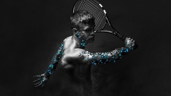 Широкоформатные обои с необычным абстрактным фото мужчины играющим в тенис