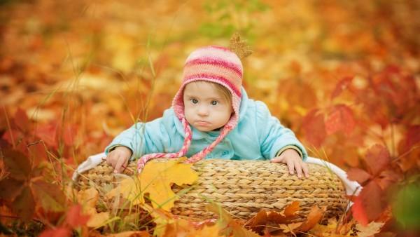 Маленький ребенок с напучеными щеками осенью на природе обои широкоформатные