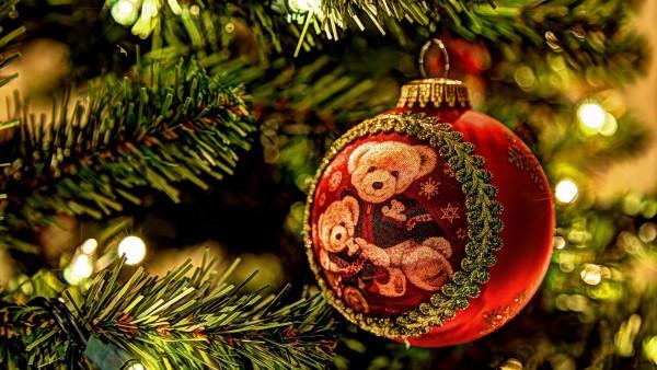 Рождественский шар, украшение, елка, праздник, медведь, праздник, HD, обои