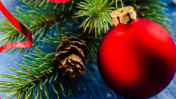 Праздники, Рождество, шары, шишка, широкоформатные обои, HD