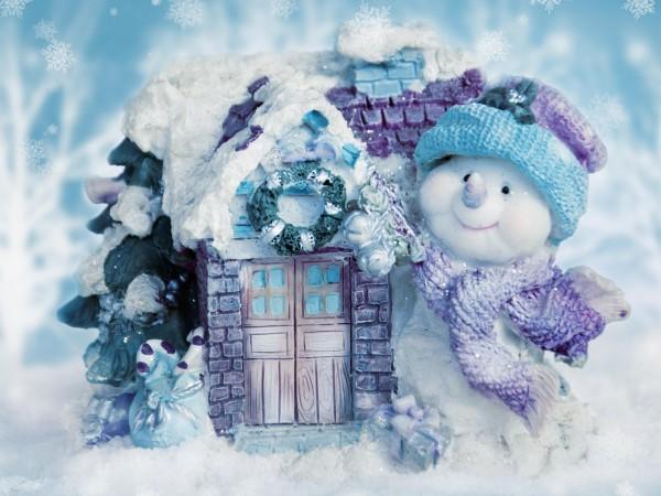 Широкоформатные обои, Праздники, Рождественские снеговики, снежинки, Новый год, картинки