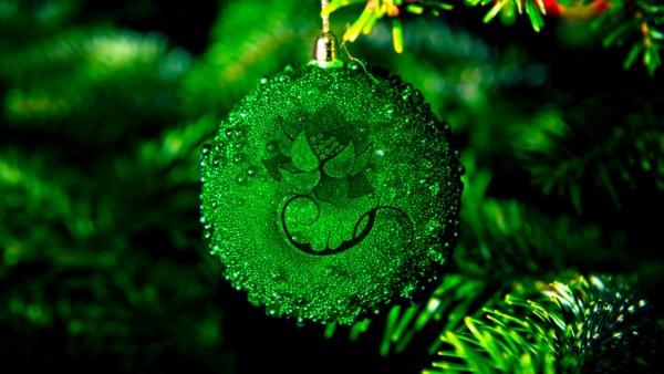 Зеленый рождественский шарик обои для рабочего стола