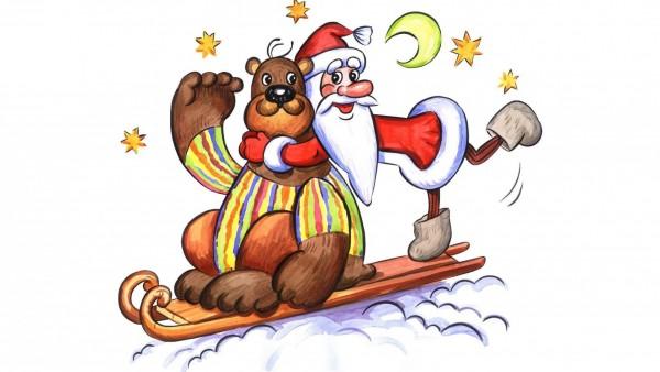 Медведь, Дед Мороз, открытки, звезды, луна, сани, праздник, Новый год, обои, картинки
