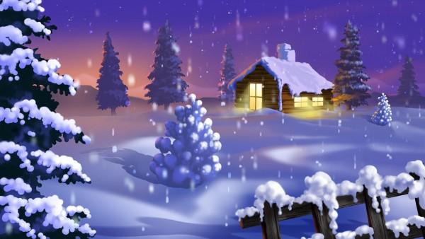 Новогодние елки, ночь, дома, фонари, праздник, новый год, рождество, картинки, заставки