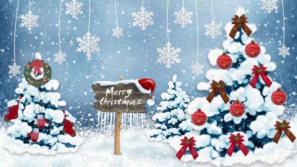 Широкоформатные картинки Счастливого Нового года и Рождества открытка для рабочего стола