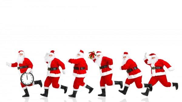 Новый год, Рождество, Санта мчится, Время, часы, Санты, фото, скачать, праздник