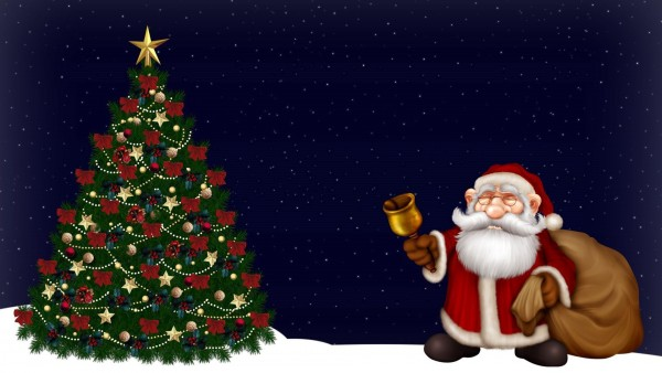 HD обои, Санта-Клаус, елка, ночь, колокол, рождество, праздник